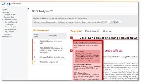 אבחון עמודי האתר באמצעות SEO Analyzer