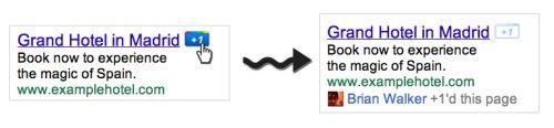 מודעות ממומנות בגוגל - כפתור גוגל +1