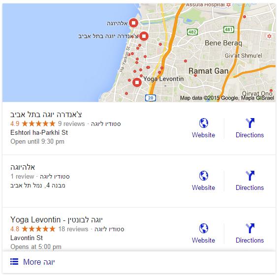 חיפושים מקומיים - יוגה בתל אביב